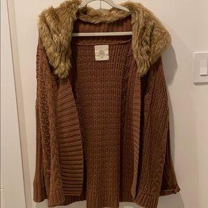Zara faux fur collared cardigan